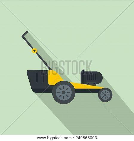 Motor Grass Cutter Icon. Flat Illustration Of Motor Grass Cutter Vector Icon For Web Design