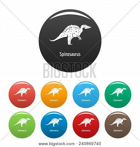 Spinosaurus Icon. Simple Illustration Of Spinosaurus Vector Icons Set Color Isolated On White