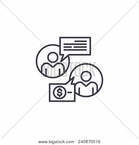 Negotiating A Contract Line Icon, Vector Illustration. Negotiating A Contract Linear Concept Sign.