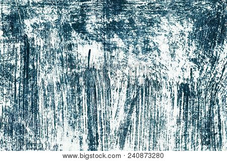 Blue Ink Scribble On White. Scratched Surface. Abstract Grunge Background