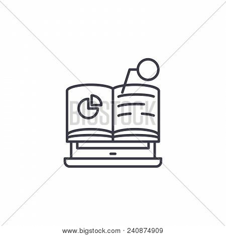 Online Lecture Line Icon, Vector Illustration. Online Lecture Linear Concept Sign.