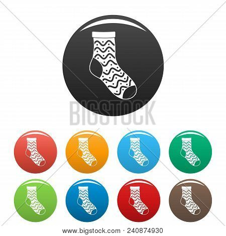 Nice Sock Icon. Simple Illustration Of Nice Sock Vector Icons Set Color Isolated On White