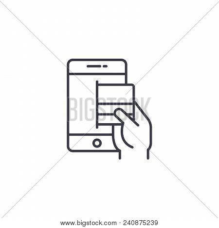 Online Pay By Card Line Icon, Vector Illustration. Online Pay By Card Linear Concept Sign.