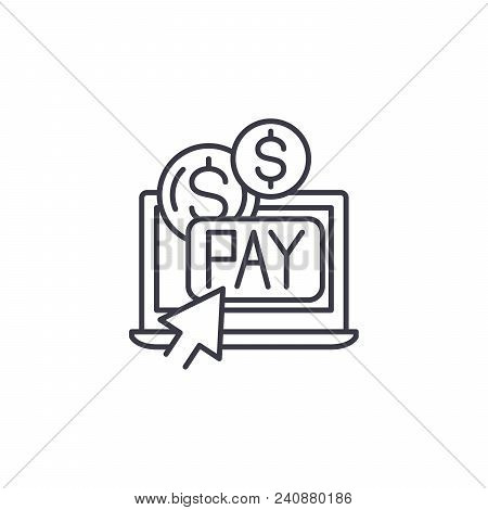 Pay Per Click Line Icon, Vector Illustration. Pay Per Click Linear Concept Sign.