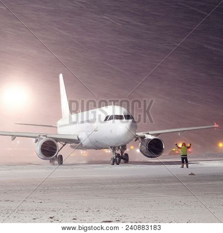 Moscow, Russia -February, 09,2015: plane parked at the airport in winter