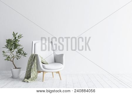 Living Room Interior With White Sofa And Flower, White Wall Mock Up Background, 3d Illustration