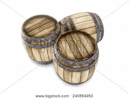 Three Old Wooden Barrels Isolated On White Background. 3d Rendering. Old Wine, Whiskey, Beer Barrel.
