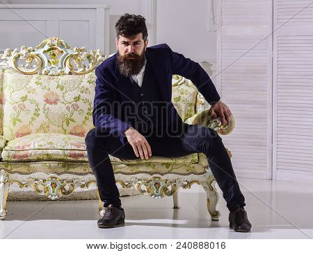 Macho Attractive And Elegant On Serious Face And Thoughtful Expression. Fashion And Style Concept. M