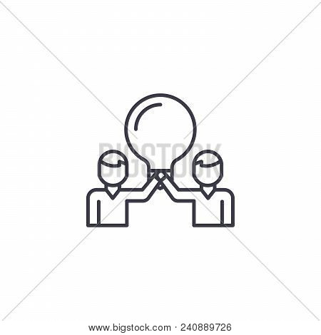 Project Members Line Icon, Vector Illustration. Project Members Linear Concept Sign.