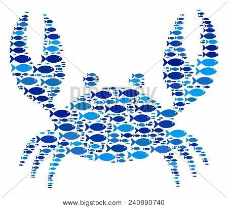 Fish Crab Collage In Blue Color Variations. Vector Fish Items Are Composed Into Crab Illustration. E