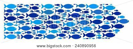 Fish Direction Arrow Mosaic In Blue Color Hues. Vector Fish Symbols Are Composed Into Direction Arro