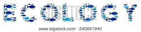 Fish Ecology Text Composition In Blue Color Variations. Vector Fish Symbols Are Formed Into Ecology