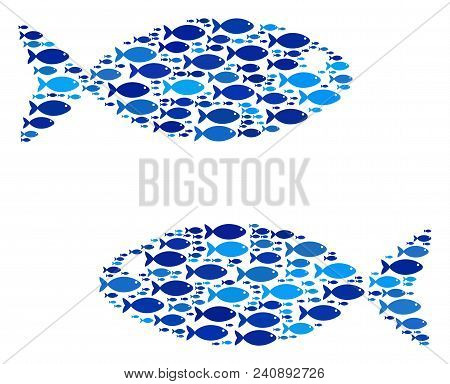 Fish Fish Pair Composition In Blue Color Hues. Vector Fish Symbols Are Formed Into Fish Pair Mosaic.