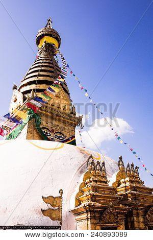 Swayambhunath (monkey Temple) Stupa In Kathmandu, Nepal. Ancient Religious Architecture Atop A Hill