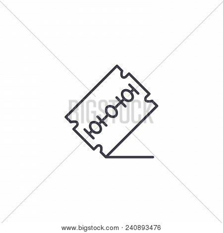 Razor Blade Line Icon, Vector Illustration. Razor Blade Linear Concept Sign.