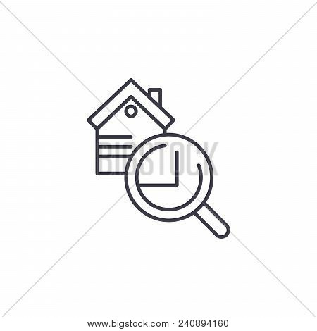 Real Estate Inspection Line Icon, Vector Illustration. Real Estate Inspection Linear Concept Sign.