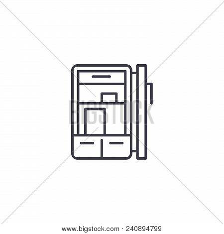 Refrigerator Line Icon, Vector Illustration. Refrigerator Linear Concept Sign.