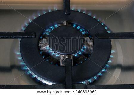 Gas Burner Flame At Gas Stove, Close-up.