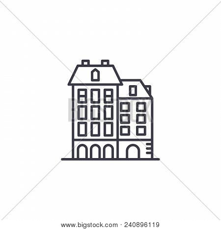 Residential Complex Line Icon, Vector Illustration. Residential Complex Linear Concept Sign.
