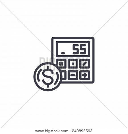 Revenue Project Calculation Line Icon, Vector Illustration. Revenue Project Calculation Linear Conce