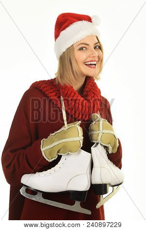 Winter Fashion, Sport Style. Smile Woman Skater With Figure Skates. Ice Skating Concept - Smiling Wo