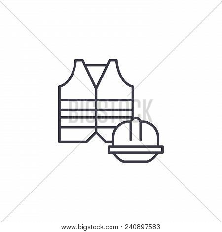 Safety Clothing Line Icon, Vector Illustration. Safety Clothing Linear Concept Sign.