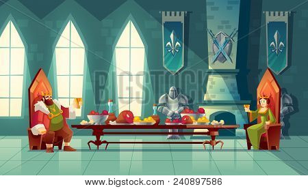 Vector Castle Hall With King And Queen Eat Lunch. Feast Table With Food, Banquet Party. Interior Of