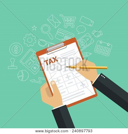 Paying Taxes Concept. Government And State Taxes. Flat Vector Illustration
