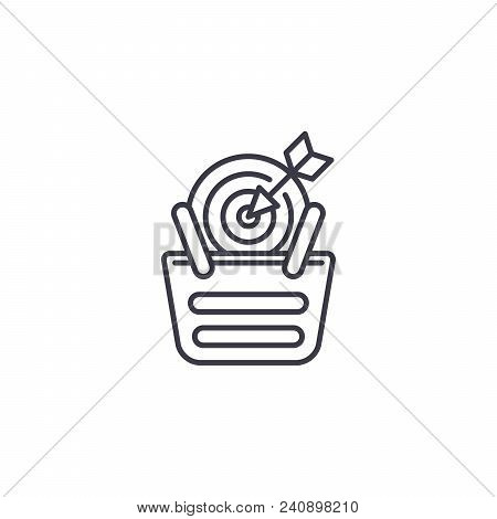 Sales Target Line Icon, Vector Illustration. Sales Target Linear Concept Sign.