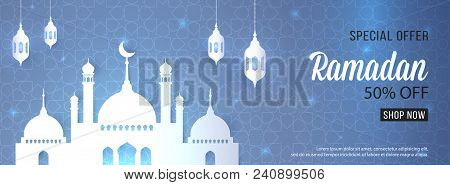 Ramadan Sale Special Offer Web Banner Design With Beautiful Crescent Lantern  Mosque White Color Upt