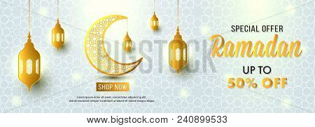 Ramadan Sale Special Offer Web Banner Design With Beautiful Crescent Moon Gold Color And White Backg