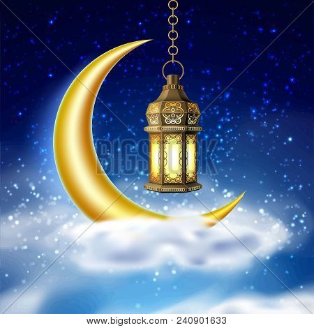 Ramadan Kareem Poster, Celebration Lamp Lantern Realistic 3d Illustration. Arabic Islam Festival Rel