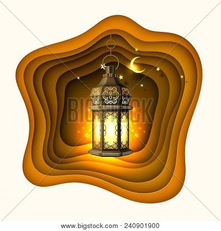 Ramadan Kareem Poster, Celebration Lamp Lantern Realistic 3d Illustration. Arabic Islam Culture Fest