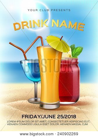 Summer Club Cocktail Party Poster Template. Realistic 3d Orange Juice Smoothie Mason Jar, Alcohol Dr