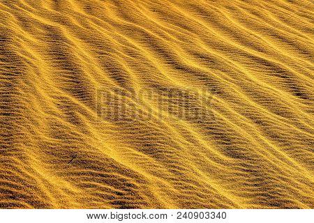 Golden: Macro Sand Pattern On Sand Dunes, Death Valley, California