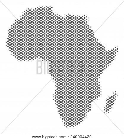 Schematic Africa Map. Vector Halftone Territory Abstraction. Silver Dotted Cartographic Concept. Abs