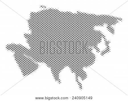 Schematic Asia Map. Vector Halftone Territory Plan. Silver Dot Cartographic Concept. Abstract Asia M