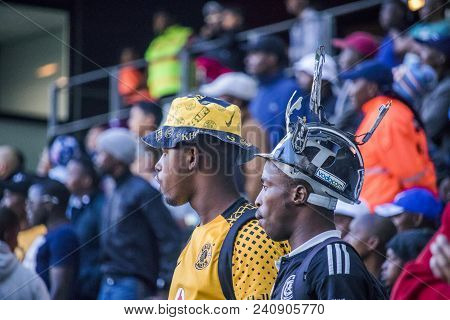 Cape Town Stadium, South Africa, 12 May 2018 - Diverse South African Football Supporters Watching In