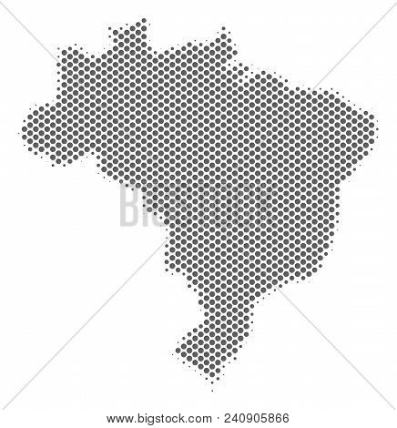 Schematic Brazil Map. Vector Halftone Territorial Scheme. Silver Pixel Cartographic Composition. Abs