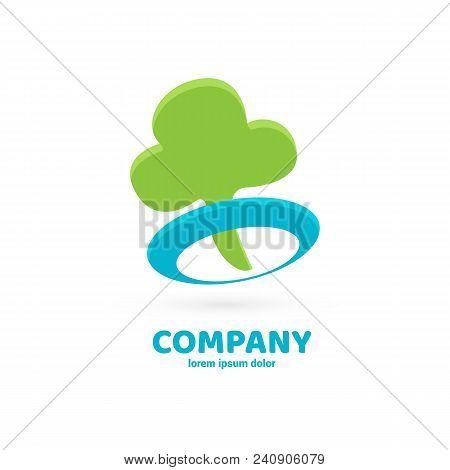 Illustration Design Of Logotype Business Eco Symbol. Vector Tree Web Icon.