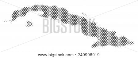 Schematic Cuba Map. Vector Halftone Territorial Abstraction. Gray Pixel Cartographic Composition. Ab
