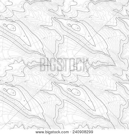 Tileable Topographic Map Background Concept With Space For Your Copy, Elevation .