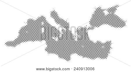 Schematic Mediterranean Sea Map. Vector Halftone Geographic Plan. Silver Pixelated Cartographic Comp