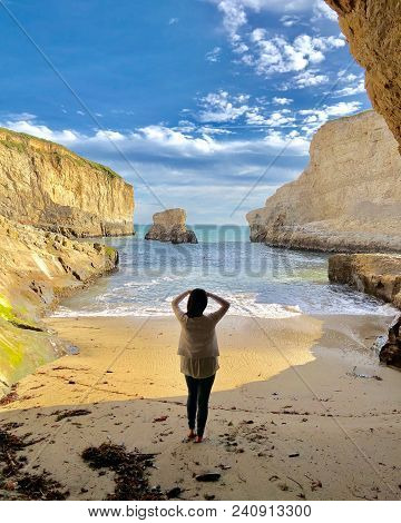 Woman Looking Out At The Beautiful Ocean Scenery In Santa Cruz, California. Photo Taken May, 2018.