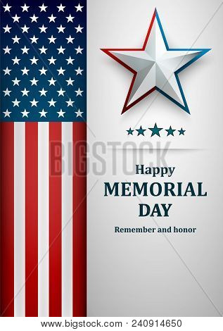 Banner For Memorial Day. American Flag On Gray Background