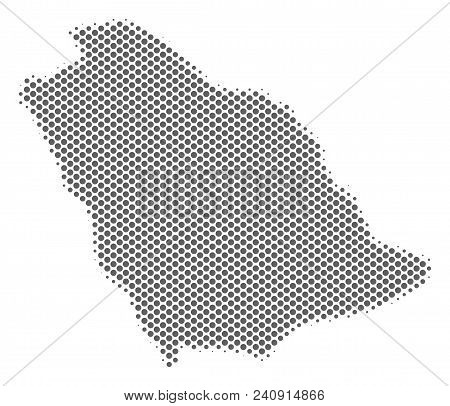 Schematic Saudi Arabia Map. Vector Halftone Geographic Plan. Gray Dotted Cartographic Concept. Abstr