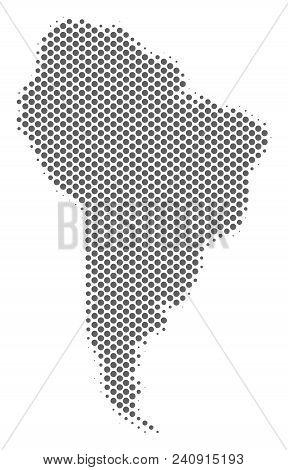 Schematic South America Map. Vector Halftone Territorial Scheme. Gray Pixel Cartographic Composition