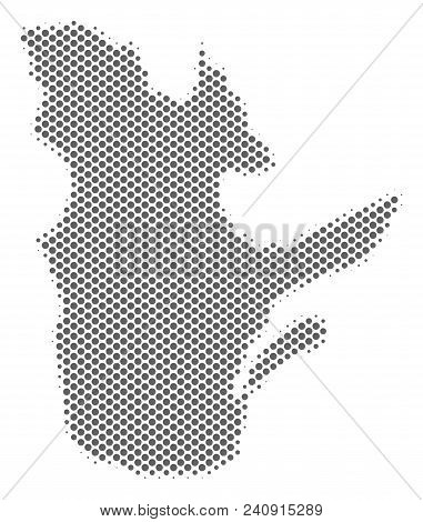 Schematic Quebec Province Map. Vector Halftone Territorial Abstraction. Grey Dotted Cartographic Con