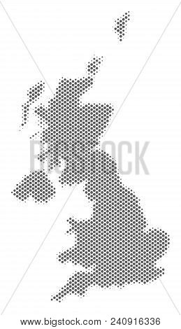 Schematic United Kingdom Map. Vector Halftone Territorial Abstraction. Gray Pixel Cartographic Compo