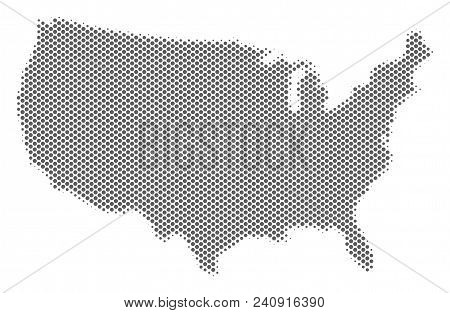 Schematic Usa Map. Vector Halftone Geographic Abstraction. Grey Pixel Cartographic Concept. Abstract